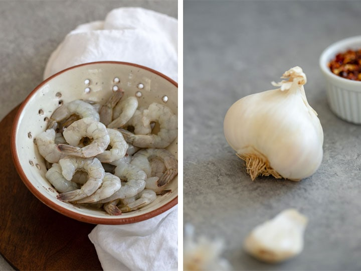 Composite image, raw shrimp on the left, a head of garlic on the right.