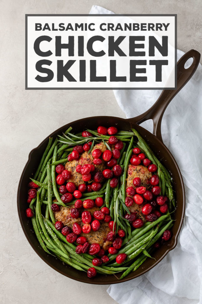 Extra cranberries?? Use them to make this simple, flavorful cranberry chicken! It's cooked in one skillet with a punch of balsamic vinegar and brown sugar, with green beans to round it out. Easy skillet dinners never tasted so good!