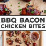 The most epic appetizer!! BBQ-GLAZED CHICKEN BACON BITES, easy to make with just 3 ingredients, and absolutely packed with flavor. Perfect game day recipe, appetizer for a BBQ, or easy party food. Enjoy! #gameday #snacks #appetizers #bacon #bbq