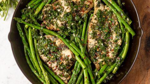 Chimichurri Chicken Asparagus Skillet