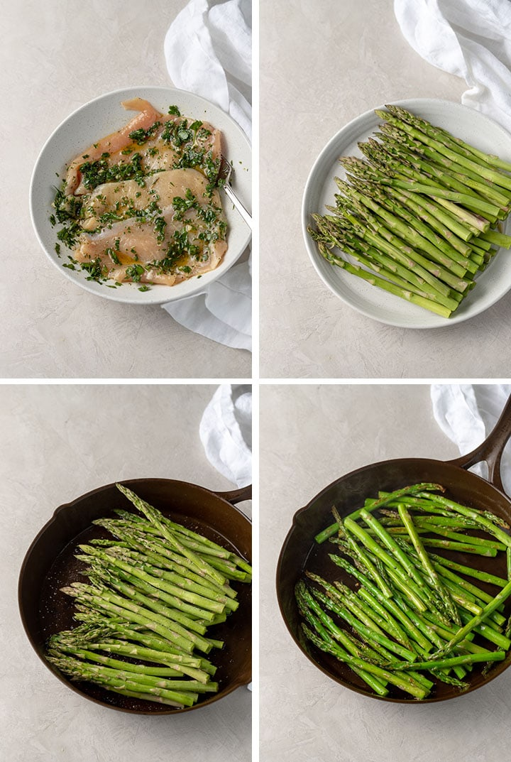 Step-by-step photos of making chimichurri chicken and asparagus skillet-1. marinate chicken, 2. prep asparagus, 3. add asparagus to hot pan, 4. remove asparagus when bright green and crisp-tender.