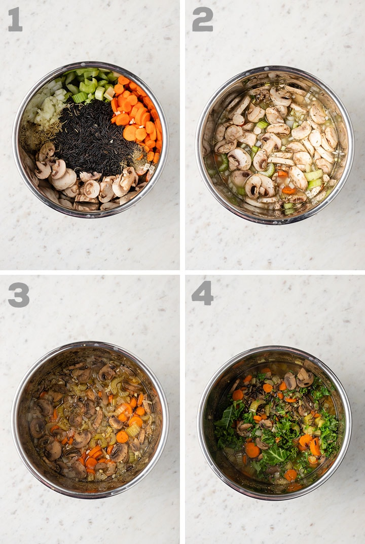 Step by step photos showing the process of making Instant Pot wild rice soup.