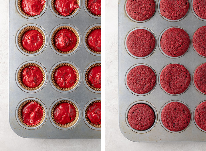 Red velvet cupcakes in a muffin tin, before and after baking.