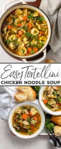 I LOVE this chicken noodle soup that actually fills you up!! Ultimate comfort food with tortellini to make it a little more hearty. Perfect soup recipe for cold days and comfort food. #comfortfood #chickennoodle #souprecipe