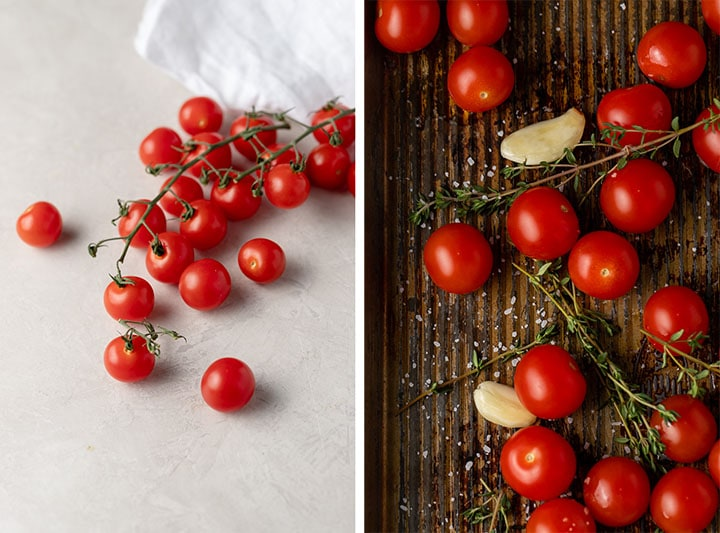 Close-up of cherry tomatoes on the vine, plain and on a baking sheet with thyme, garlic, and olive oil.