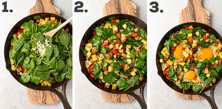 Step-by-step photos showing the process of cooking a potato hash and adding eggs in a cast iron skillet.