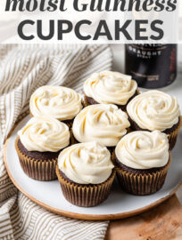 A MUST for St. Patrick's Day or the beer lover! The best, most decadent chocolate Guinness cupcakes topped with luscious Irish cream frosting. Plus they're easy to make and ready in less than 45 minutes! #guinness #stpatricksday #cupcakes #chocolate