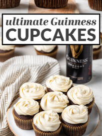 A MUST for St. Patrick's Day or the beer lover! The best, most decadent chocolate Guinness cupcakes topped with luscious Irish cream frosting. Plus they're easy to make and ready in less than 45 minutes!