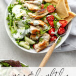 NO BORING SALAD HERE! This chicken gyro salad is a dinner-time game-changer. Healthy, easy, and so much flavor!! Bonus that it's a perfect dinner for two - portioned just right, no leftovers! #saladrecipes #lunchideas #healthydinners