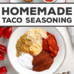 MIND-BLOWING homemade taco seasoning! This is so easy to make, makes tacos taste amazing, and has helped me ditch packets for good. Must save, must bookmark, must have.
