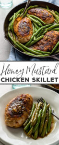 The GO TO weeknight dinner! Juicy, flavorful honey mustard chicken seared and baked in a pan sauce that's TO DIE FOR all on its own. Everyone loves this - even my picky kids! Who says easy chicken recipes can't be delicious? #honeymustard #chickendinner #skilletmeals