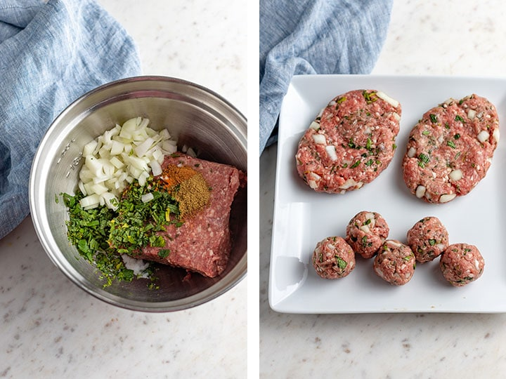 Side-by-side photos showing the ingredients that go into Moroccan lamb burgers and the shaped burger patties.