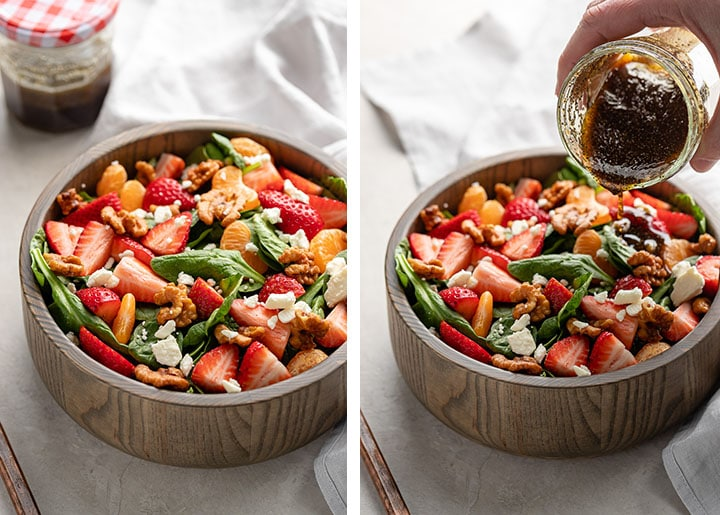 Process photos of an undressed salad, and an action shot of a person pouring dressing onto it from a small jam jar.