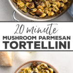 Need dinner? Have 20 minutes? This quick and easy recipe for fresh tortellini made with sautéed mushrooms, butter, and tangy Parmesan cheese puts a delicious meal on your table in 20 minutes flat! #pasta #mushrooms #easyrecipes
