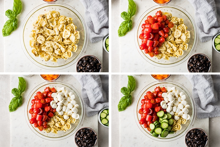 Step by step photo collage showing the process of adding ingredients for a pasta salad.