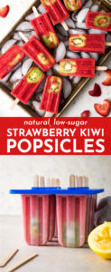 Everyone will go crazy for these beautiful, vibrant, all-natural strawberry kiwi popsicles! Easy to make with just four ingredients, and much healthier than their store-bought cousins! #popsicles #strawberry #kiwi #lowsugar