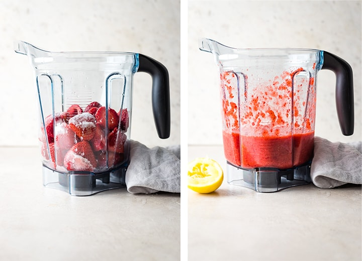 Before and after photos of strawberries, lemon juice, and sugar in the blender.