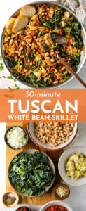 A Tuscan White Bean Skillet is the ultimate way to change up your easy weeknight meals! Great flavors from garlic, sun-dried tomatoes, and artichoke hearts, and easy to make in under 30 minutes! Perfect easy vegetarian meal.