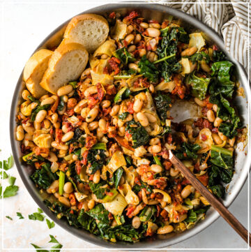 Large Tuscan white bean skillet, ready to serve.