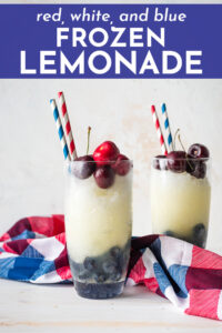 Layered red, white, and blue frozen lemonade is a light, bright, non-alcoholic frozen drink that's fun and festive for the Fourth of July or any other patriotic occasion! Easy to spike or adjust to taste!