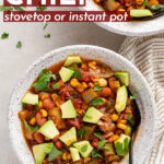 Saving to make this in August!! Zucchini, peppers, and corn infuse this Summer Vegetable Chili with flavor and make it the perfect late summer meal everyone will love! Stovetop AND Instant Pot instructions included, either works. #instantpot #summer #chili