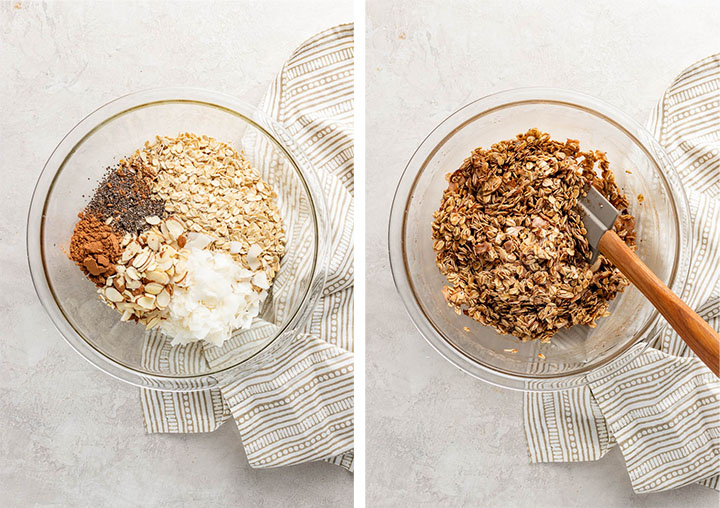 Mixing bowls showing ingredients for chocolate granola, before and after stirring.