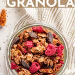 An easy, healthy recipe for dark chocolate granola with raspberries. Make a big batch and enjoy a delicious breakfast all week! #granola #homemade #breakfastideas #makeaheadbreakfast