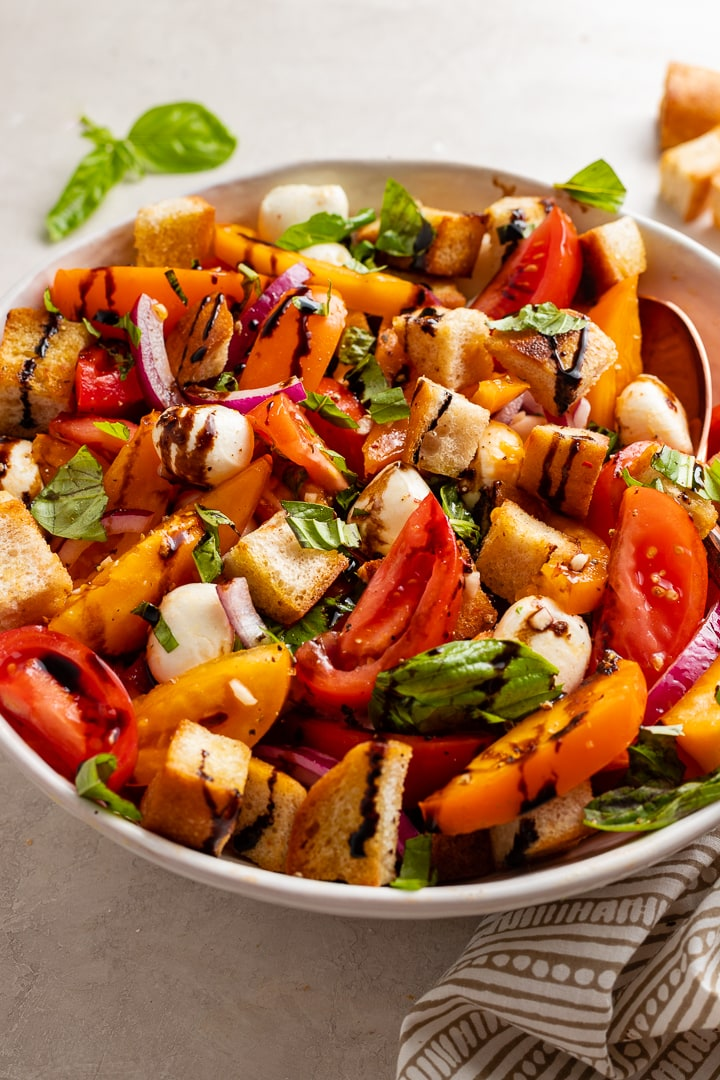 Close-up image of a delicious Marinated Mozzarella Panzanella, ready to serve.