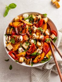 A drool-worthy dish of Marinated Mozzarella Panzanella.