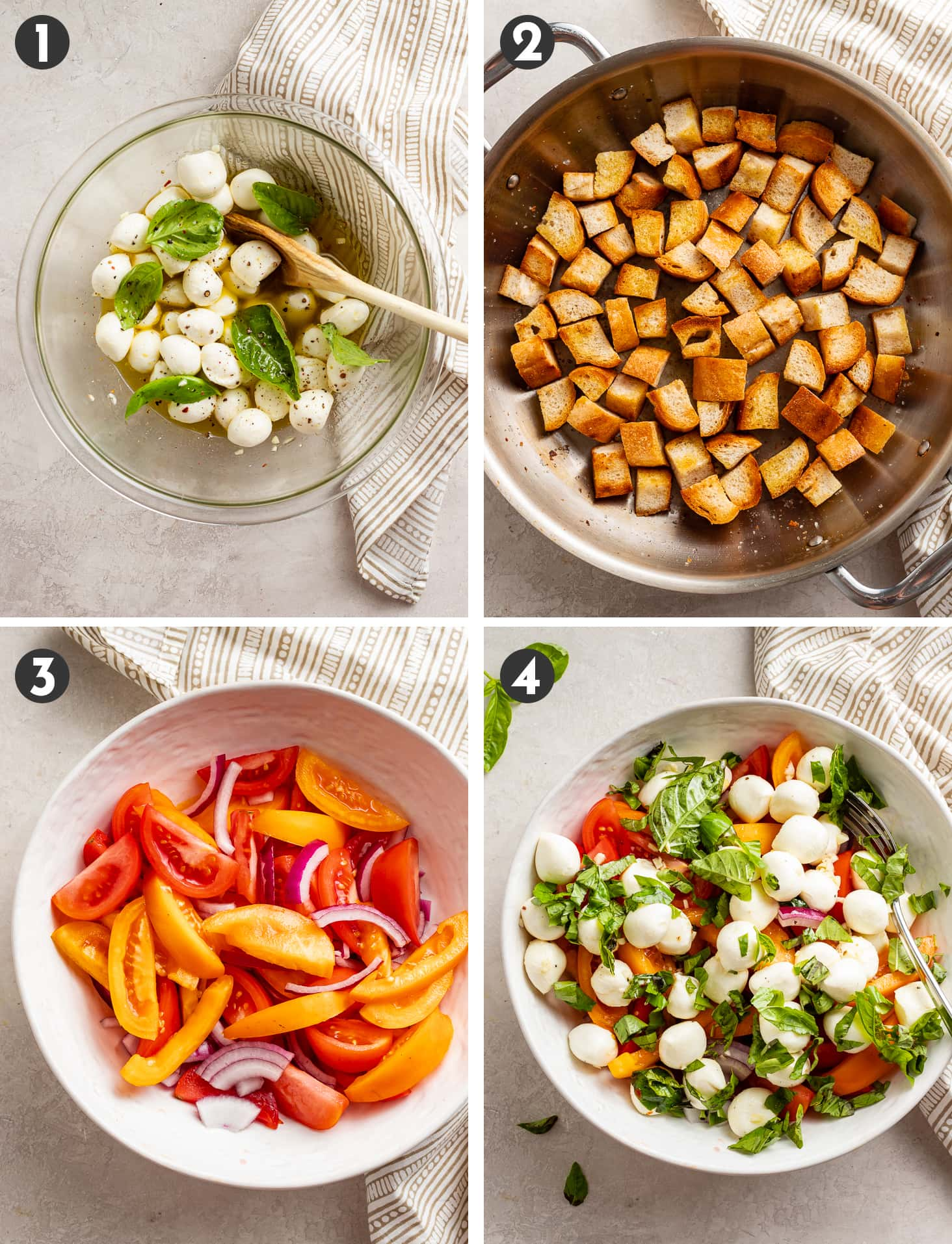 Step by step photos of assembling a Panzanella with marinated mozzarella and tomatoes.