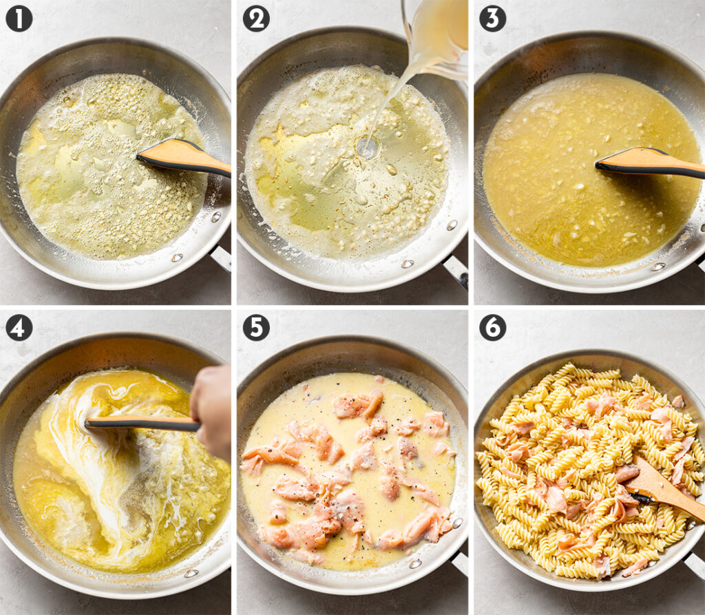 Six images showing the process of making a creamy sauce with smoked salmon to go with pasta.