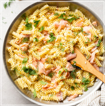 Large skillet filled with Creamy Smoked Salmon Pasta.