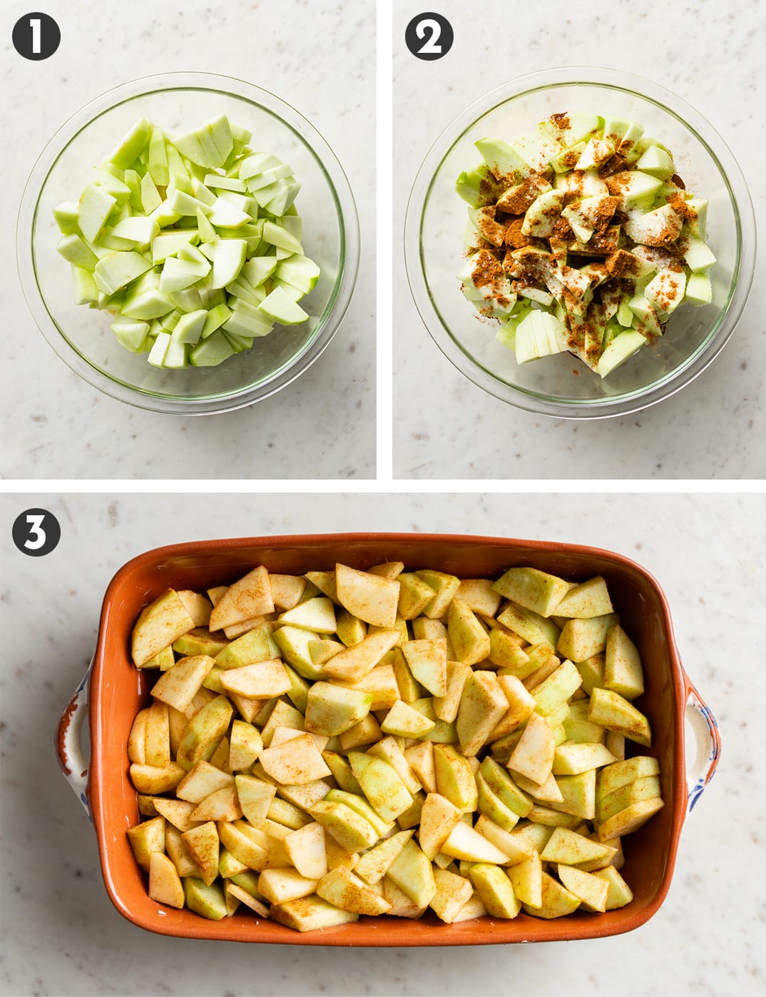 Bowl filled with sliced apples, then tossed with spices and spread in a small rectangular baking dish.