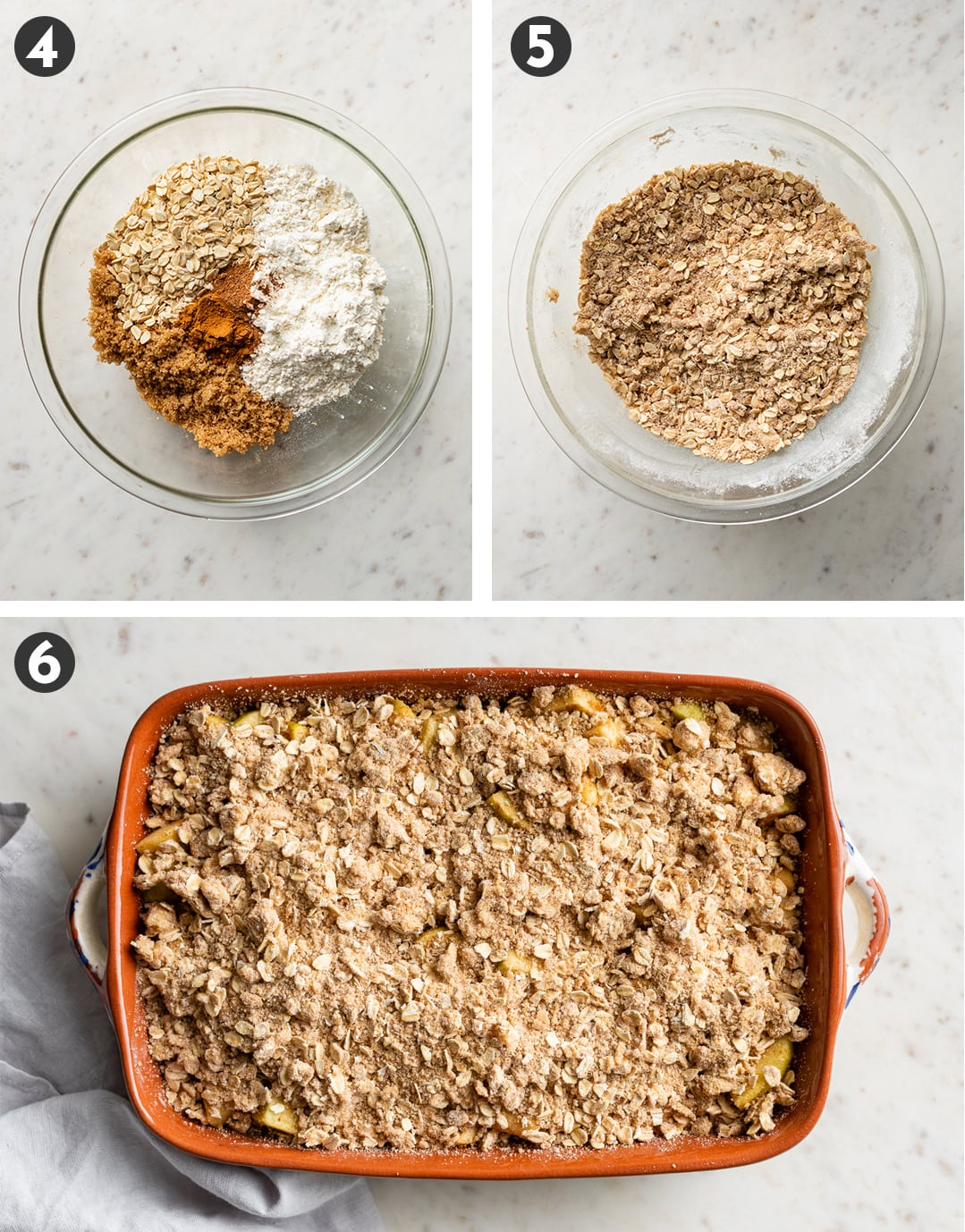 Bowl filled with oats, brown sugar, flour, and spices, separate, mixed together, then spread on top of apples.