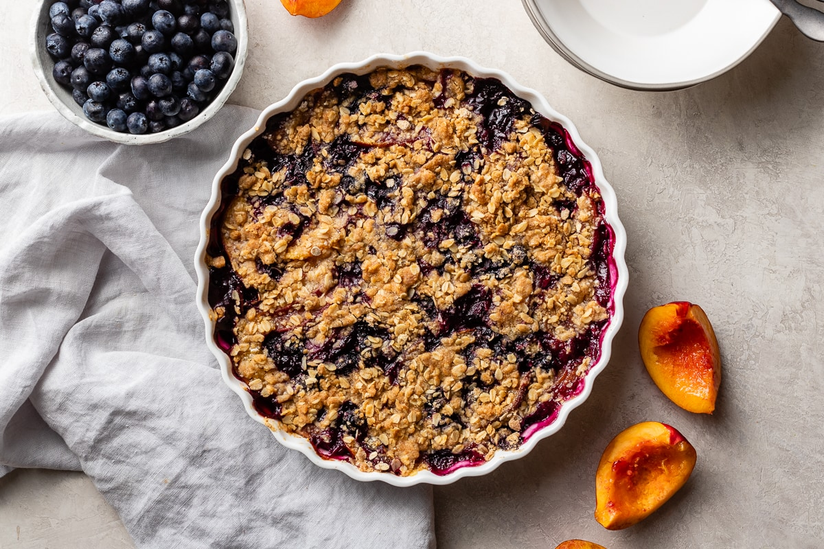 A large blueberry nectarine crisp with buttery oat topping.