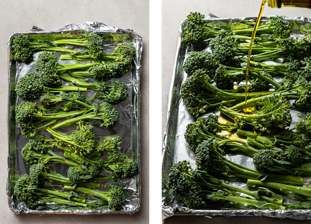 Broccolini spread out on a sheet pan, and an action shot of drizzling olive oil on top.