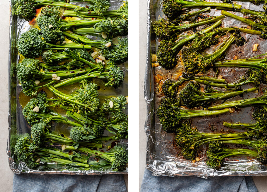 Before and after photos of roasted broccolini on a sheet pan.