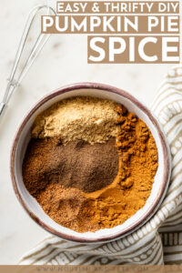Learn how easy it is to make your own pumpkin pie spice in less than 5 minutes with just a few everyday spices. Perfect for baking fall muffins, breads, pies, cookies, and more! #pumpkinspice #pumpkinpiespice #fallrecipes #pumpkinrecipes