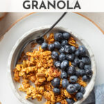 This healthy maple pumpkin granola recipe is easy to make, vegan, gluten-free, and most importantly, totally irresistible. It will be your go-to pumpkin-flavored snack! Make a batch and enjoy breakfast all week, or share some with friends for the perfect fall treat. #granola #pumpkin #falltreats #pumpkinrecipes