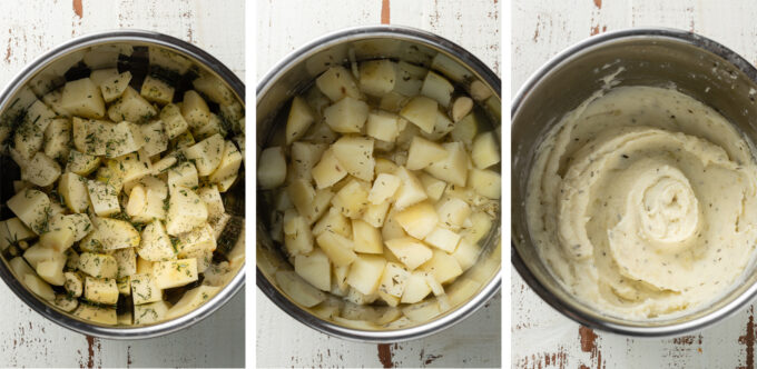Step by step photos of chopping, cooking, and mashing Instant Pot mashed potatoes.