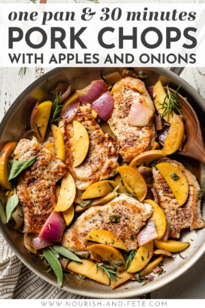 An easy and delicious recipe for pork chops with apples and onions - all made in one skillet! This is perfect and healthy fall comfort food; the recipe includes tips to help you turn out well-seasoned and perfectly cooked chops in a flavorful sauce, all in 30 minutes. #porkchops #fallrecipes