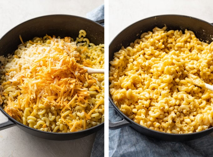 Cheese on pasta before and after melting and stirring.