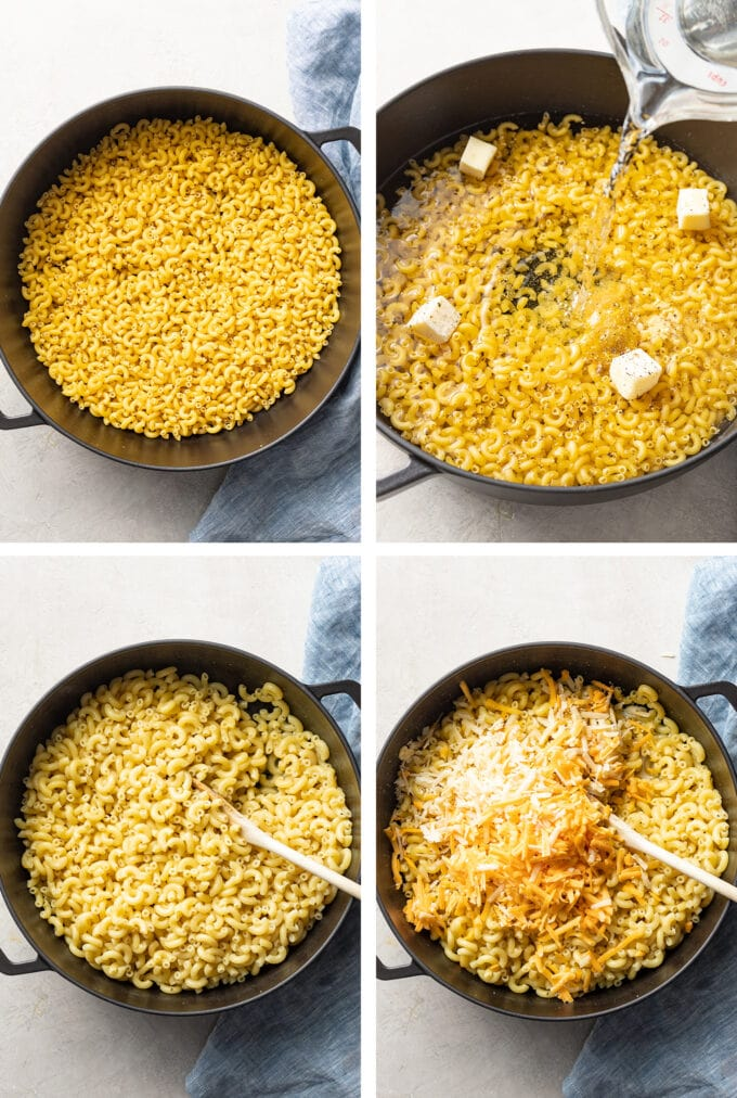 Step by step photos of elbow macaroni in a pot, adding water and seasoning, the cooked noodles, and cheese sprinkled on top.