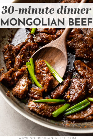 The BEST EASY 30 minute recipe for Mongolian beef that's truly fool-proof and tastes just like P.F. Chang's! Tender steak with crispy edges and the most mouth-watering sauce you can imagine. #mongolianbeef #easydinnerrecipes #copycatrecipes