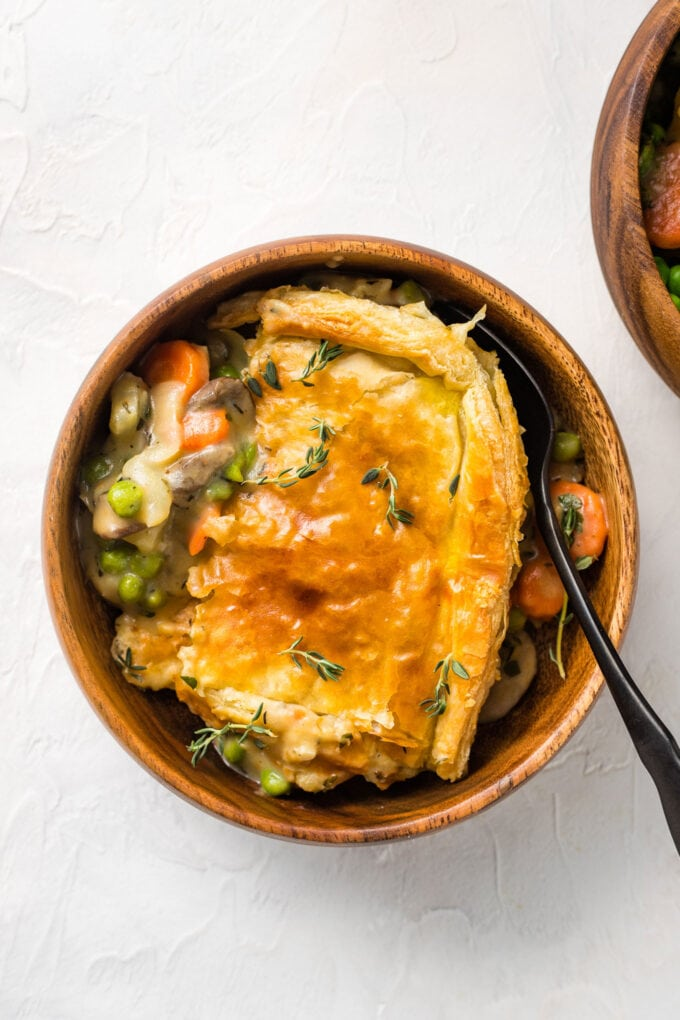 Vegetarian pot pie with a puff pastry crust.