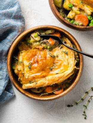 Veggie pot pie with a puff pastry crust.