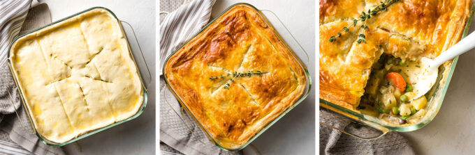 Baked veggie pot pie with fennel and potatoes.