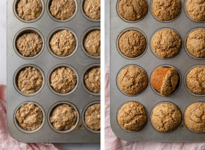 Banana bran muffins, before and after baking.
