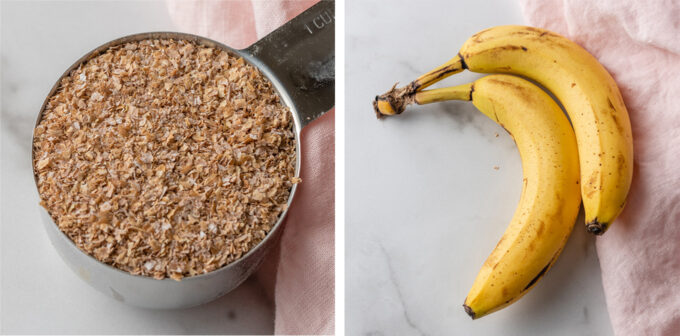 Coarse wheat bran and brown bananas.
