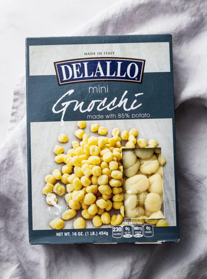 Package of DeLallo brand mini potato gnocchi.